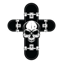 Skateboard Skull Cross