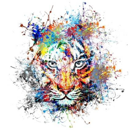 Tiger Head Colorful Paint Art